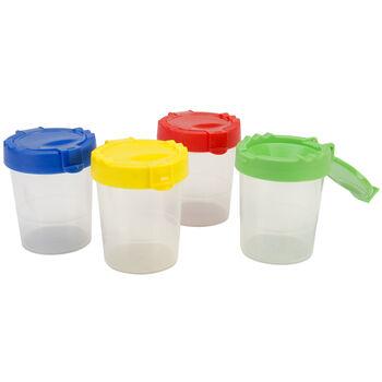 No-Spill Paint Cup Assortment 4 Colors-White Cup/Assorted Color Lids 12pk