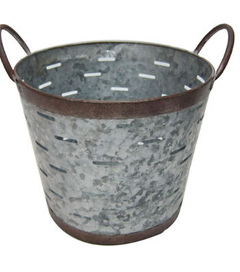Fresh Picked Spring Large Galvanized Bucket with Slits