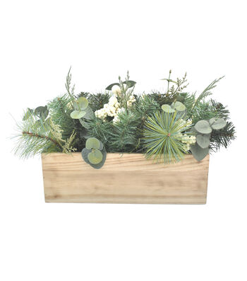 Blooming Holiday 16'' Eucalyptus, Berry & Pine Arrangement in Planter