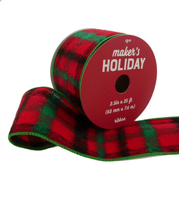 Maker's Holiday Christmas Flannel Ribbon 2.5''x25'-Red & Green Plaid