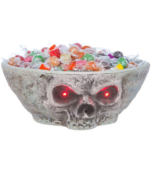 Maker's Halloween Animated Red Eyes Skull Candy Bowl