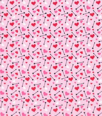 Valentine's Day Glitter Fabric -Hearts & Arrows