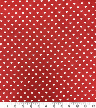 Valentine's Day Cotton Fabric-White Hearts on Red