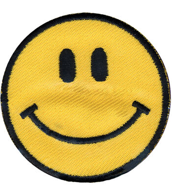 """Wrights Iron-On Appliques-Yellow Happy Face 1-7/8"""" 1/Pkg"""
