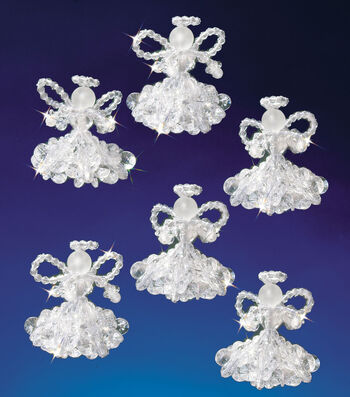 "Holiday Beaded Ornament Kit-Crystal Angels 2"" Makes 6"