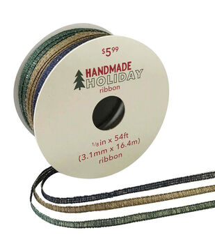Handmade Holiday Christmas Triple Ribbon 1/8''x54'-Green, Tan & Blue