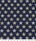 Patriotic Cotton Fabric -Rustic Mini Stars on Navy