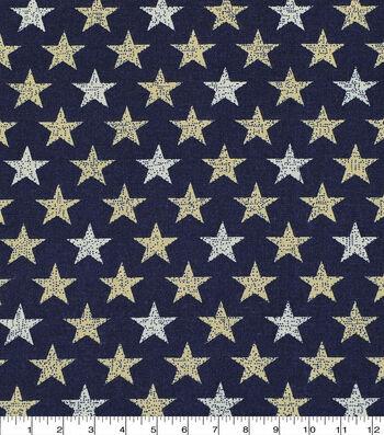 Patriotic Cotton Fabric -Rustic Mini Stars on Navy
