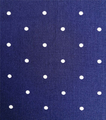 Cotton Shirting Fabric 57''-White Dots on Navy