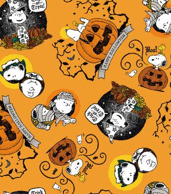 "Peanuts Halloween Cotton Fabric 43""-Happy Halloween"