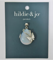 hildie & jo Teardrop Stone Pendant with White Butterfly, , hi-res