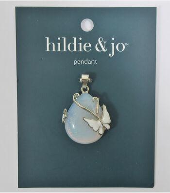 hildie & jo Teardrop Stone Pendant with White Butterfly