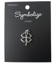 hildie & jo Symbolize 0.75''x0.63'' Open Shamrock Silver Charm, , hi-res