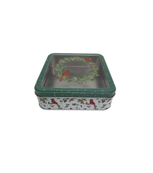 Handmade Holiday Christmas Small Square Cookie Tin with Clear Top-Wreath