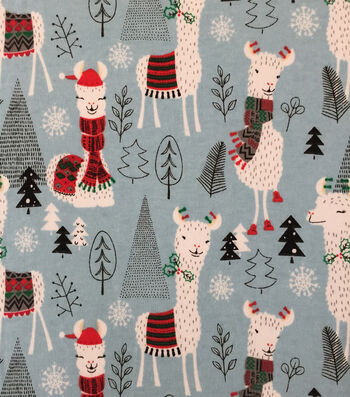 "Doodles Christmas Interlock Cotton Fabric 57""-Holiday Llama"