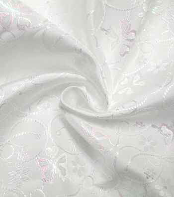 Glitterbug Brocade Fabric -Iridescent White Butterfly