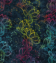 Legacy Studio Indonesian Batiks Cotton Fabric -Blue Rainbow Floral, , hi-res