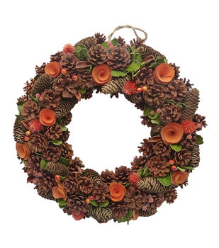 Blooming Autumn Pinecone & Wood Chip Wreath