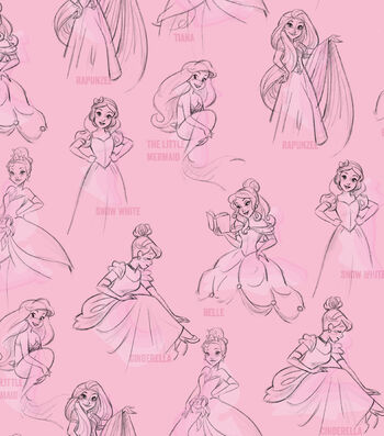 Disney Princess Knit Fabric 58''-Allover