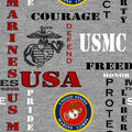 Marines Fleece Fabric-Heather Logo
