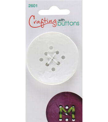 Crafting with Buttons Large 9 Hole Button-White