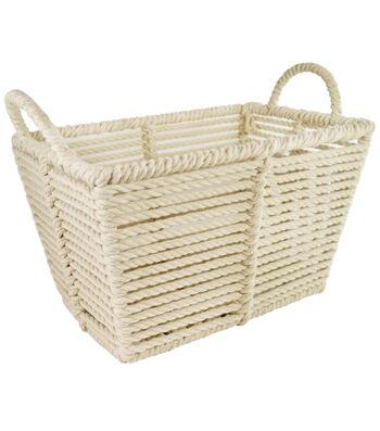 Small Laundry Storage Macrame Bin-White