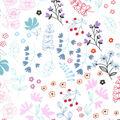 Nursery Flannel Fabric-Bear White Wildflowers