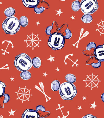 Disney Mickey & Minnie Mouse Cotton Fabric -Nautical Aye Aye