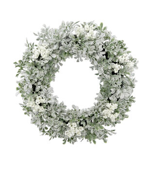 Handmade Holiday Christmas White Berry & Frosted Boxwood Wreath