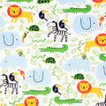 Super Snuggle Flannel Fabric-Zoo Animals on White