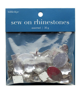 Sew-On Rhinestones, Clear Faceted, 30 grams