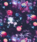 Novelty Cotton Fabric -Planets Purple Glitter