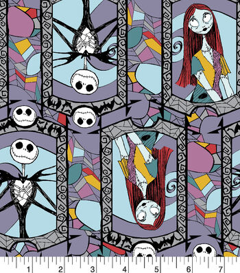 """Nightmare Before Christmas Halloween Knit Fabric 58""""-Stained Glass"""