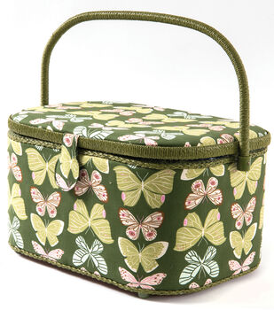 Extra Large Oval Sewing Basket-Butterflies on Olive
