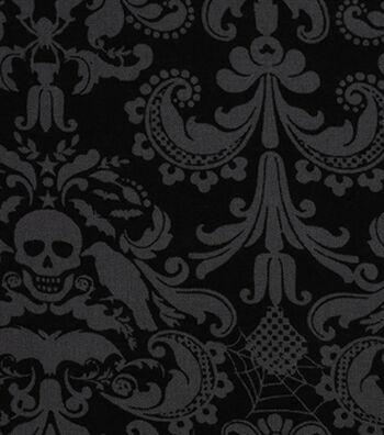 Halloween Cotton Fabric -Coffin Damask