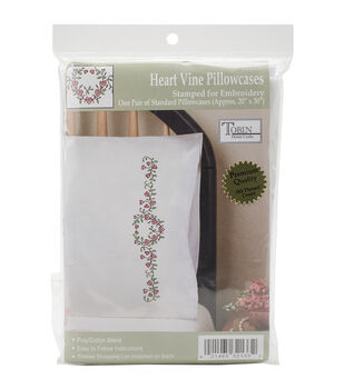 Tobin Stamped Heart Vine Pillowcase Pair For Embroidery