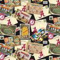 University of Alabama Crimson Tide Cotton Fabric-Scenic Postcard