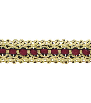 "5""/8"" Gold/Red Scroll Apparel Trim"