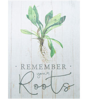 In the Garden 5.5''x7.25'' Wood Block Wall Decor-Remember your Roots