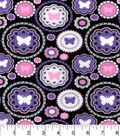 Snuggle Flannel Fabric -Purple Dot Butterflies