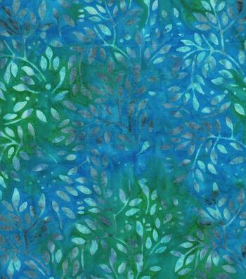 "Legacy Studio Batik Cotton Fabric 43""-Green Blue Floral"