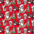 Christmas Cotton Fabric-Holiday Pups on Red