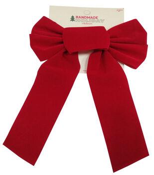 Handmade Holiday Christmas 7''x14'' Velvet Bow-Red