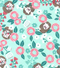 Nursery Flannel Fabric-Hanna Mint Tossed Hedgehog