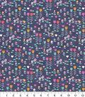 Snuggle Flannel Fabric 42\u0027\u0027-Multi Floral On Navy