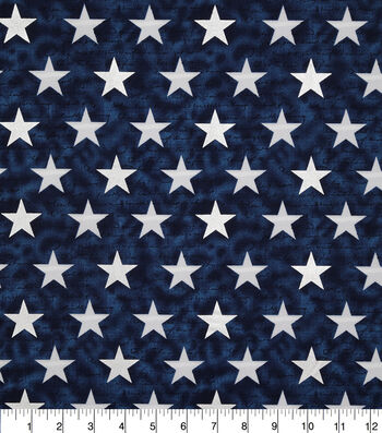 Patriotic Cotton Fabric-Décor Star on Blue Foil