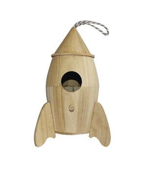 Paulownia Wood Large Rocket Ship Birdhouse