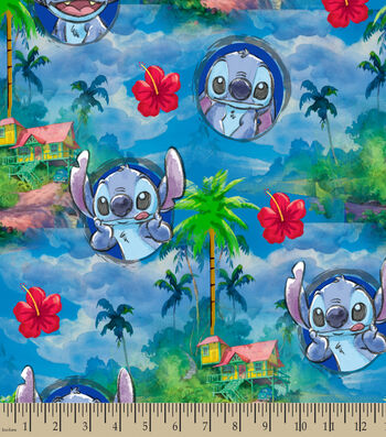 Disney Lilo & Stitch Print Fabric-Stitch's Hawaiin Nights