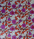 Global Cotton Shirting Fabric-White & Red Global Floral
