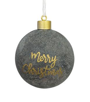 Handmade Holiday Christmas Scandimas Ornament-Merry Christmas on Gray